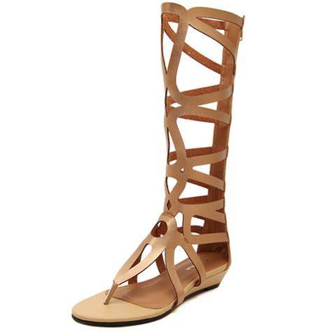 inexpensive gladiator sandals cheap fashion clip toe hollow out flat low heel gold pu