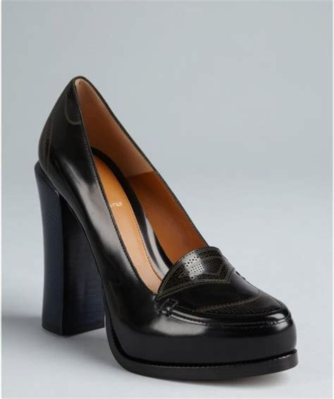 stacked heel loafer fendi black and blue colorblock leather stacked heel
