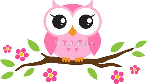 Rainbow Stickers For Walls quot cute pink cartoon baby owl sitting on a branch with