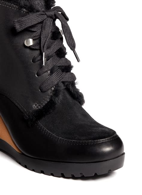 cole haan henson waterproof leather wedge boots in black