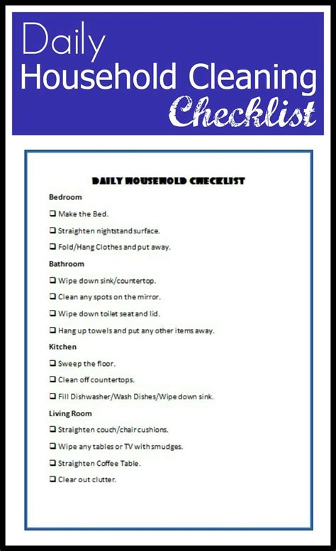 house cleaning checklist daily household cleaning checklist easy tips for cleaning