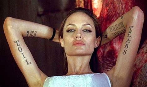angelina jolie gets new tattoo january 2014 celebrity tattoos female