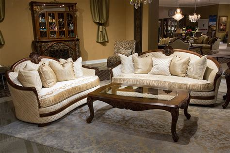 luxury sofa set bella veneto wood trim luxury sofa set by aico usa