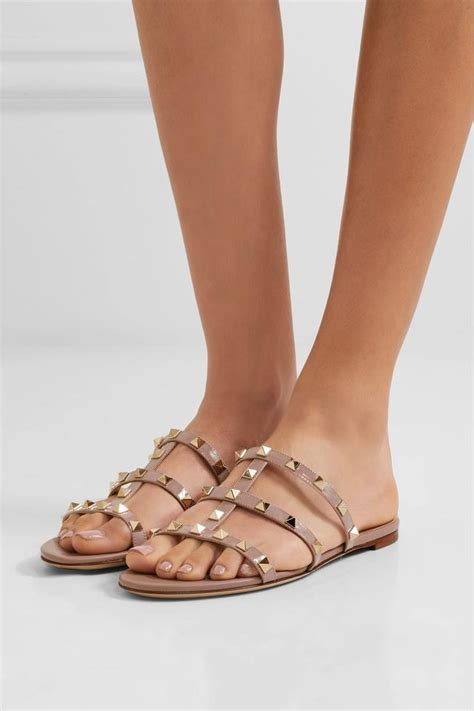 valentino sandals sale valentino new rockstud cage slide beige sandals on sale