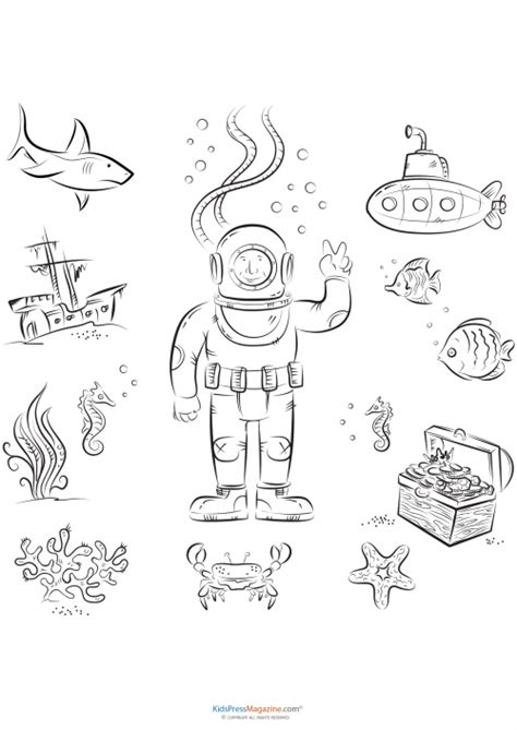 advanced ocean coloring pages free coloring pages of sea diver