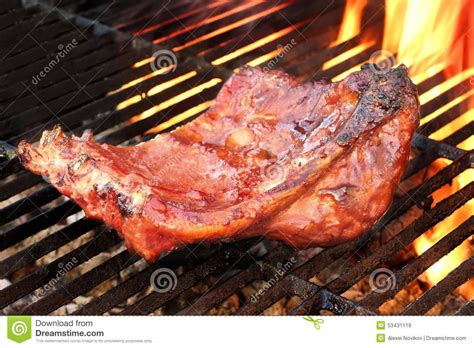 flaming rooster bbq rib loin grilled bbq tasty smoked marinated pork ribs at summer stock image image 53431119