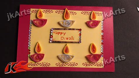 how to make diwali greeting cards diy paper quilling greeting card for diwali jk arts 335