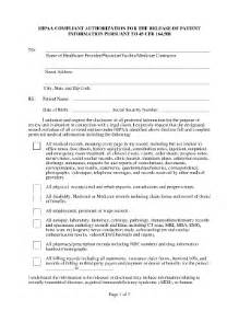 hipaa release of information authorization form fill