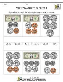 money math worksheets money match to 10 dollars
