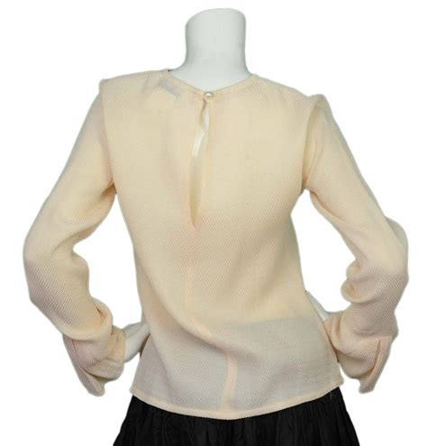 Blouse Waffle 1 chanel waffle print blouse with pleated sleeve detail sz 38 for sale at 1stdibs