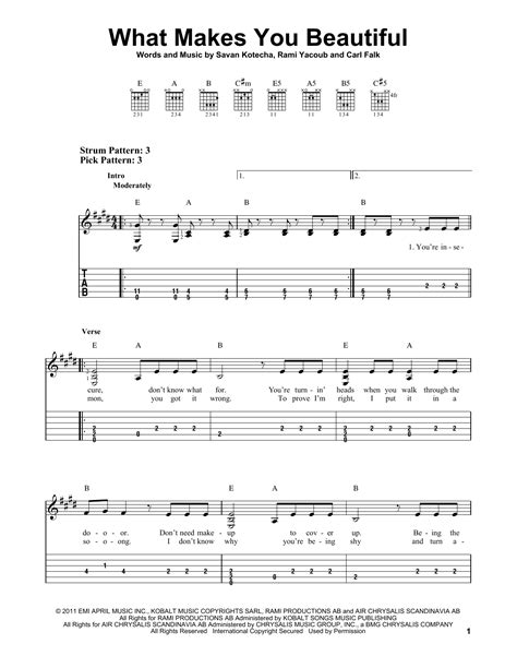 Outstanding Guitar Chords Of What Makes You Beautiful Image ...