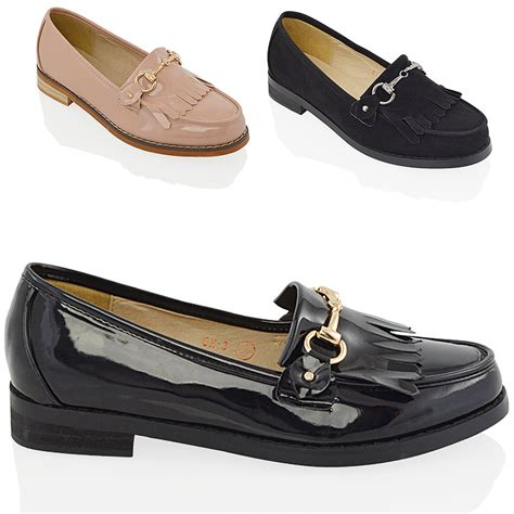 Sandal Wedges Flat Casual Wanita Import High Qlty new womens loafers pumps school work casual fringe buckle shoes size ebay