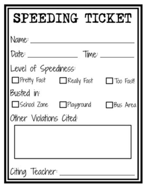 printable scale tickets speeding ticket printable maybe for kids who rush