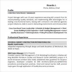 Construction Project Manager Sample Resume project manager resume 9 samples examples format