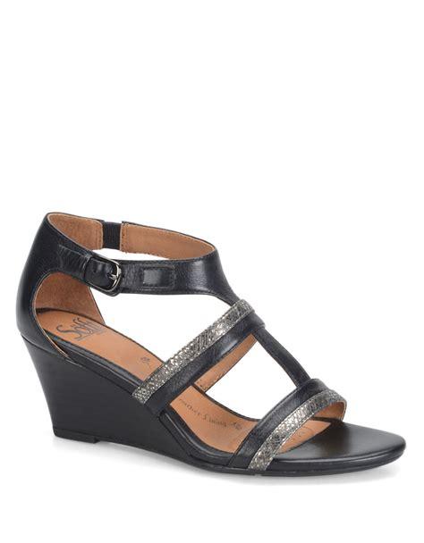 Sandal Wedges Ls03 Hitam 69 lyst s 246 fft pippa black leather wedge sandals in black