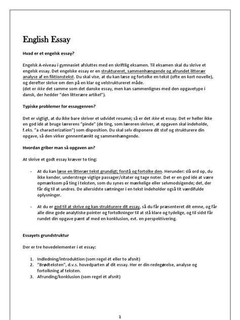 Skriv Et Godt Engelsk Essay by How To Write An Essay Et Intropapir