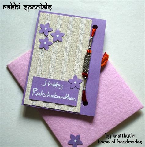 Handmade Greeting Cards For Raksha Bandhan - rakshabandhan cards with rakhi kraftkutir s handmade