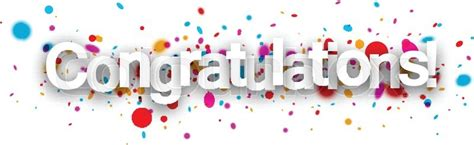 Congratulations paper banner with color drops. Vector