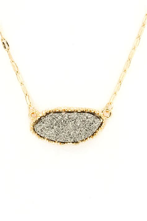 The Necklace Of Stones by Oval Druzy Necklace Set Necklaces