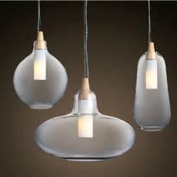 Modern Glass Pendant Lighting Aliexpress Buy Modern Glass Pendant Light Curved Transparent Pendant L Wooden