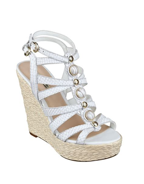 guess onixx leather wedge sandals in white lyst