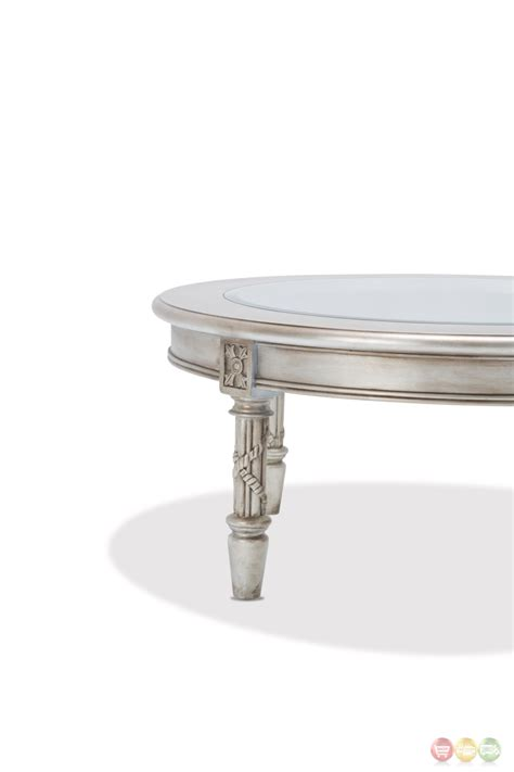 Luxury Glass Coffee Tables Luxury Traditional Ornate Glass Top Coffee Table In Platinum Finish