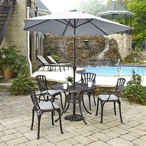 Patio Set Umbrella Home Styles Largo 5 Patio Dining Set With Umbrella And Cushions The Home Depot Canada