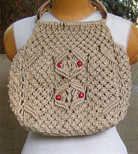 How To Make A Macrame Purse - vintage macrame purse bag hippie boho made