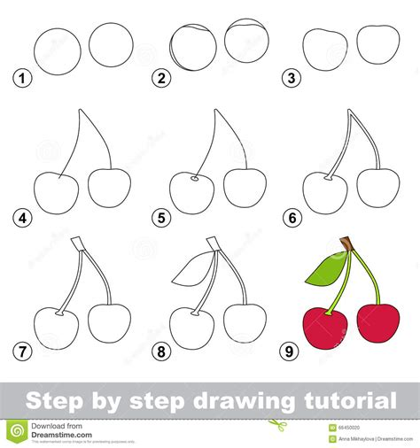 steps on how to draw doodle drawing tutorial how to draw a cherry stock vector