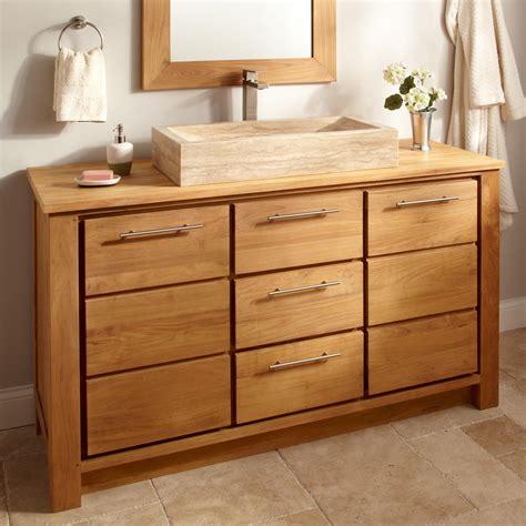 Teak Bathroom Vanities 60 Quot Venica Teak Vanity 2 Quot Drain Cutouts No Faucet Holes Ebay
