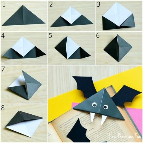 Easy Bat Origami - diy bat corner bookmarks crafts corner