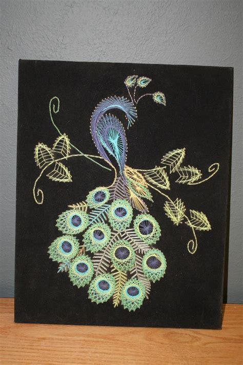 String Peacock Pattern - peacock string crafts string