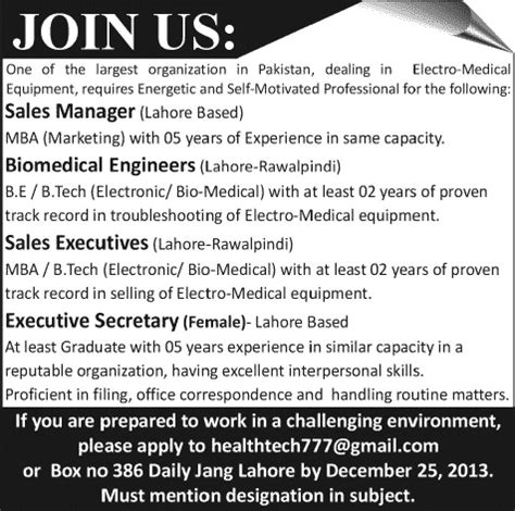 Mba Executive In Lahore by Sales Manager Executives Biomedical Engineers