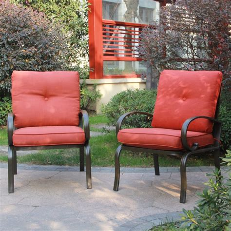 Patio Chair Set Of 2 Set Of 2 Outdoor Dining Chair Patio Club Seating Chair With Brick Cushions Ebay