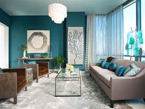 teal accent wall 26 cool brown and blue living room designs digsdigs