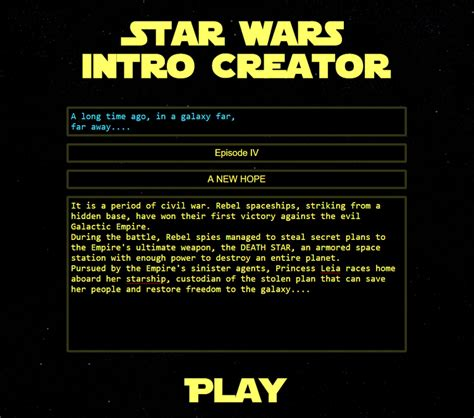 up text generator wars intro creator a website that lets you write