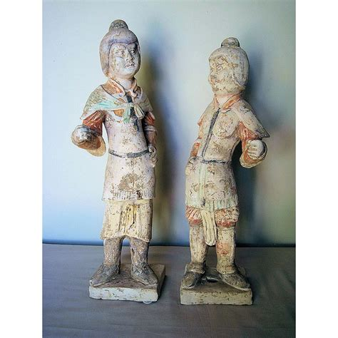 Tang Dynasty 1 19 pair of tang dynasty painted pottery figures dynasty collections antiques ruby