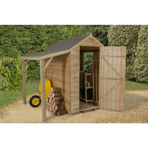Overlap Shed With Lean To by Forest Garden Overlap Garden Shed With Lean To 6 X 4 At