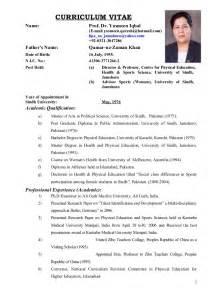 Curriculum Vitae Professor prof dr yasmeen iqbal cv