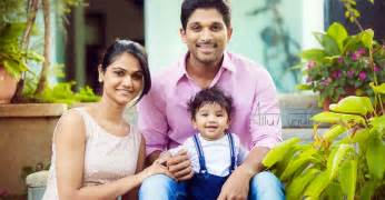 beautiful family allu arjun with his wife and son hd image