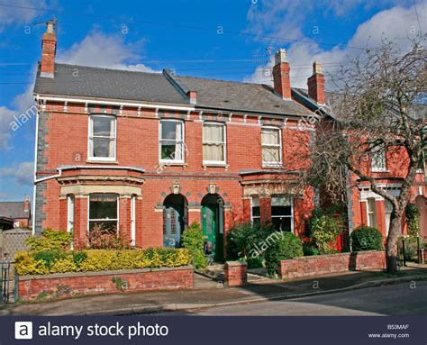 semi detached house or row house row of red brick edwardian semi detached houses england