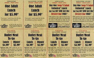 Free Coupons Online August 2009 Mountain Buffet Coupons
