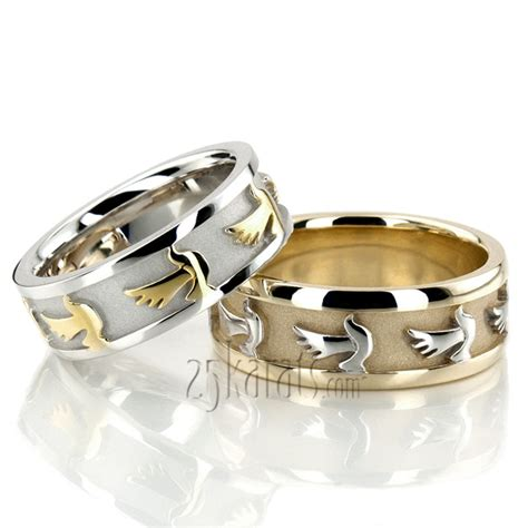 hh hc100291 14k gold dove motif religious wedding ring set