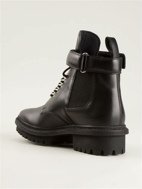 black s boots lyst balenciaga lace up boots in black for