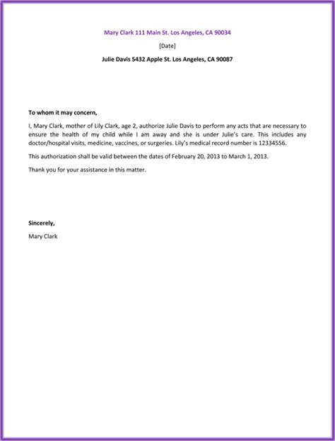 authorization letter format visa 10 best authorization letter sles and formats