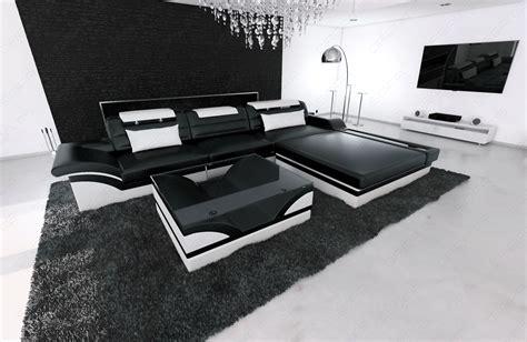 sofa mit led beleuchtung ledersofa designcouch parma l form schwarz weiss