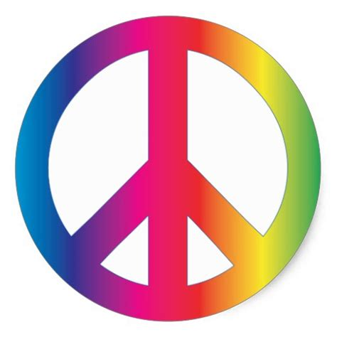 peace colours peace sign tie dye groovy colours round sticker zazzle