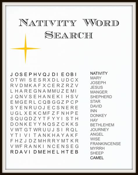 printable nativity puzzle fun festive christmas word search printables for kids