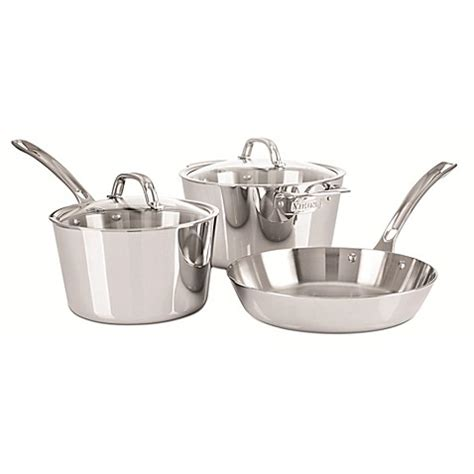 bed bath and beyond pots viking 174 contemporary stainless steel 5 piece cookware set