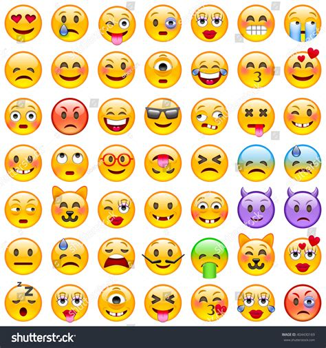 white wallpaper emoji set emoticons set emoji smile icons stock vector 404430169